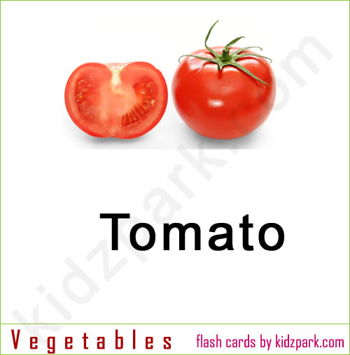 Vegetables Flash cards for KinderGarten Children