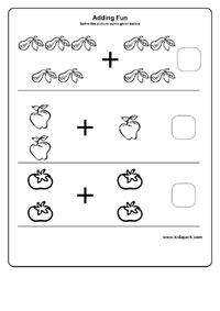 Worksheets Kindergarten Homeschool Worksheets kindergarten math adding worksheets vegetables and fruits addition