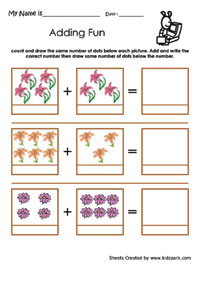 math worksheet : flower addition worksheetskindergarten addition simple math  : Simple Addition Worksheets With Pictures