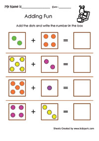 Adding Fun Worksheets, Kindergarten addition, Addition for kids
