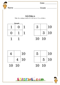 math worksheet : addition facts of 10 addition worksheets for children first and  : Addition Facts To 10 Worksheet