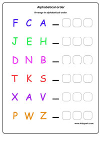 Alphabetical Order Worksheets, Activity Sheets for kids, learning ...