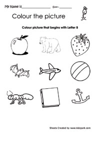 Color The Picture That Begins With Letter B, English Alphabet ...