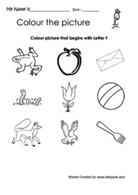 Color The Picture That Begins With Letter F, Kindergarten ...