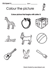 Worksheet Letter G Worksheets For Kindergarten color the picture that begins with letter g lkg and ukg g