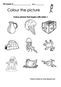 Color The Picture That Begins With J Worksheet Pre School Activity .