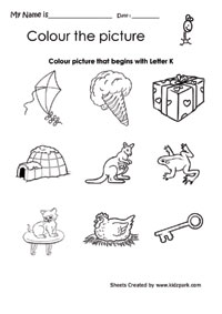 math worksheet : color the picture that begins with letter k printable english  : Kindergarten Worksheets For English