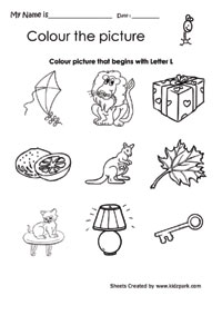 Picture Letter Match: Letter L Worksheet | MyTeachingStation.com