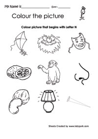 Color The Picture That Begins With Letter N, Home Schooling ...
