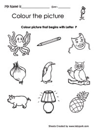 math worksheet : color the picture that begins with letter p coloring activity  : Letter P Worksheets For Kindergarten