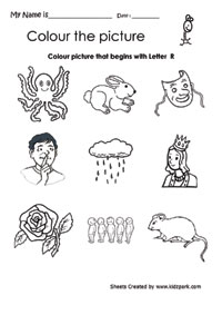 Color The Picture That Begins With Letter R, Beginning Sound Activity ...