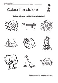color the picture that begins with letter t pre school coloring activities teachers resources. Black Bedroom Furniture Sets. Home Design Ideas