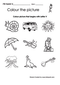 math worksheet : color the picture starting with alphabet v worksheet pre school  : Letter V Worksheets For Kindergarten