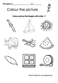 Color The Picture That Begins With Alphabet Y Worksheet ...