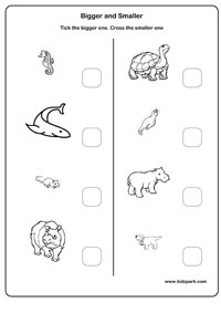 bigger or smaller - Activity Sheets For Toddlers