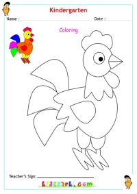 math worksheet : colour the parrot sitting on a tree branchcolor worksheets for  : Colour Worksheets For Kindergarten
