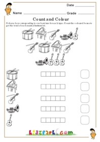 math worksheet : count and colour music instrument teachers printables activity  : Music Worksheets For Kindergarten