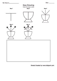 Easy Flower Pot Drawing Worksheet For Kids Colouring Worksheets