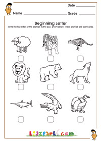 math worksheet : learn first letter of the animals worksheetkindergarten teachers  : Animal Worksheets For Kindergarten