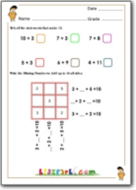 math worksheet : magic square addition fun math activity for class 1 kids : Math Magic Square Worksheet