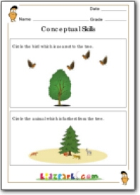 Nearest or Farthest Worksheets for Class 1, Conceptual Skill ...