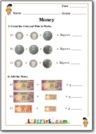 Indian Currency Math Worksheet, Teach Money for Class 1, CBSE and ICSE ...
