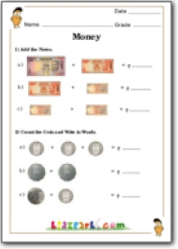 ... Rupees and Paise, Math Money Addition and Counting, Class 1 Worksheets