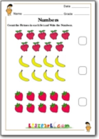 Fruits Counting Activity Sheet,First Grade Math Worksheet ...