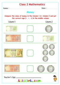 Money Worksheets for Class 2 Maths