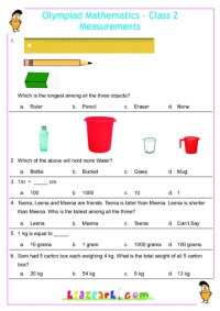 Maths Talent Exam Measurement Practice Worksheets