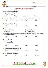 math worksheet : class 2 maths olympiad multiplication downloadable worksheets : Multiplication Assessment Worksheet