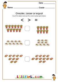 math worksheet : greater or lesser or equal worksheets activity sheets for kids : More Than Less Than Worksheets For Kindergarten
