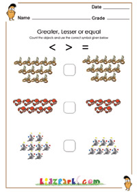 math worksheet : greater or lesser or equal worksheets activity sheets for kids : Math Less Than Greater Than Worksheets