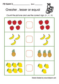 math worksheet : greater or lesser or equal worksheets activity sheets for kids : Kindergarten Greater Than Less Than Worksheets