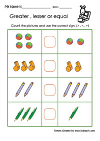 Greater or Lesser or Equal Worksheets, Activity Sheets for kids