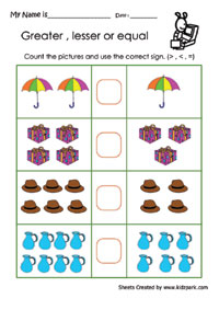 math worksheet : greater or lesser or equal worksheets activity sheets for kids : Greater And Less Than Worksheets For Kindergarten