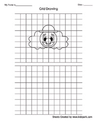 Printables Grid Art Worksheets art grid clown drawing worksheet for ukg drawing