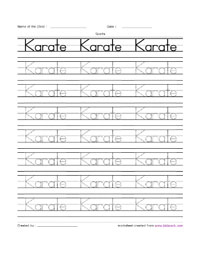Karate English Handwriting Practice Worksheet,Play School Activity ...