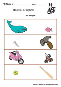 Tick The Lighter Activity Sheet,Activities Sheets for Children ...