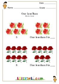 One Less Than 5 And 8 Flowers Worksheet Worksheets For