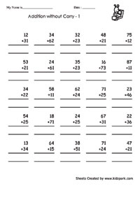 Adding Two Digit Numbers Worksheet Addition Worksheets For First Grade Teachers Resources