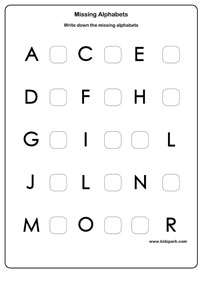 Missing Letter Worksheets, Activity Sheets for kids, Letter ...