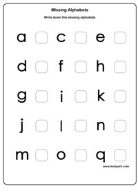 math worksheet : missing letter worksheets activity sheets for kids letter  : Kindergarten Alphabet Worksheet