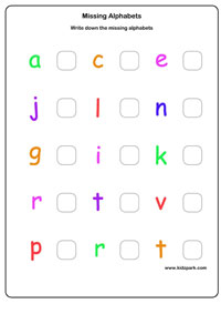 Missing Alphabets Worksheets,Kindergarten Letter Recognition ...