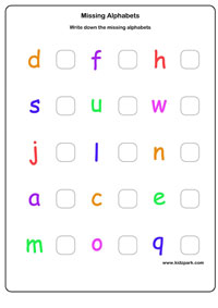 missing alphabets worksheet - Worksheet For Nursery