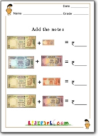 Grade 3 Indian Rupees Adding Worksheet,Grade 2 Worksheet,Money Problem ...