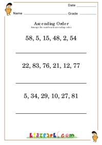 Ascending Order Worksheets,Teachers Activities for Children,Printable ...