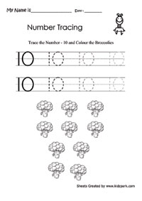 Number 10 Writing Practice Activity Sheet,Teachers Worksheets ...