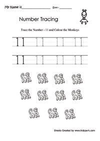 Number 11 Tracing Activity Sheet For Kindergarten,Early Learning ...