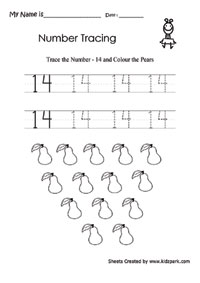 Kindergarten Trace Number 14 and Color Pears,Home Schooling Worksheet ...